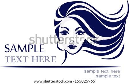 Icon hair, girl's face, rasterized version - stock photo