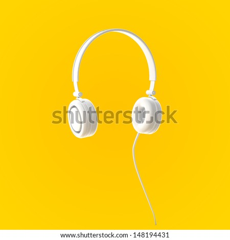 Icon Headphone Devices on Yellow Background - stock photo