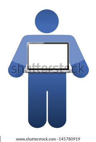 icon holding a laptop with a blank screen. illustration design - stock photo