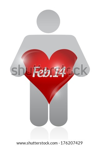 icon holding a valentine heart. illustration design over a white background - stock photo