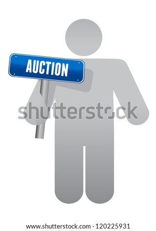 icon holding an auction sign illustration design