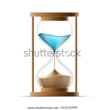 Icon hourglass with the sand and water. Global warming and arid climate. Stock illustration.