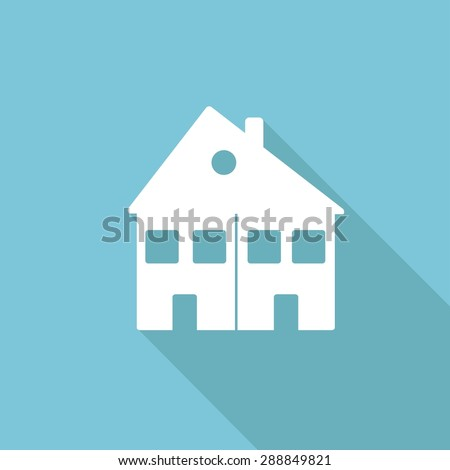 Icon house Icon with a long shadow - stock photo