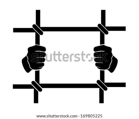 icon human hands  behind bars - stock photo