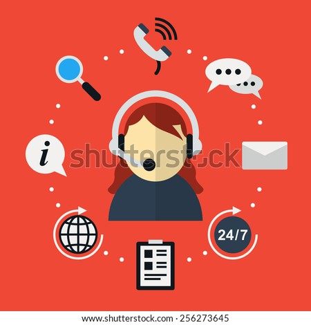Icon in flat style support and counseling clients around the clock. Customer support - stock photo