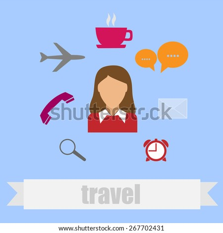 Icon in flat style travel - stock photo