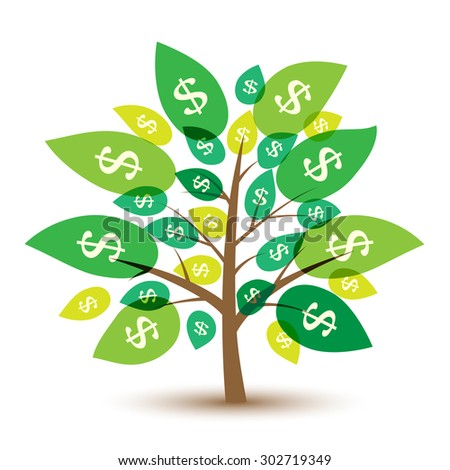 Icon money tree with leaves in dollars. Illustration. - stock photo