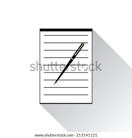 Icon notebook and pen on white background - stock photo