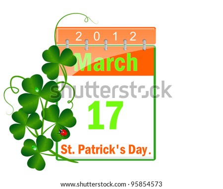 Icon of a calendar of day St Patrick and leaves of a clover with drops of water and a ladybird. Raster version. - stock photo