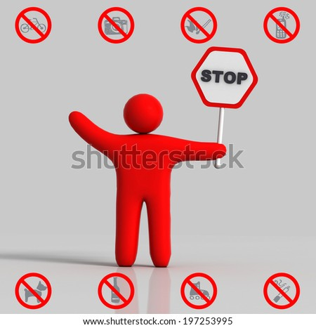icon of a human figure, holding a stop sign