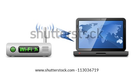 Icon of a laptop connected to a wireless router - stock photo