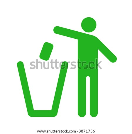 Icon of a man that throw the rubbish into the bin. Rispect the environment - stock photo