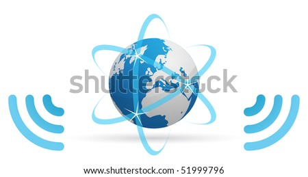 Icon of a planet, transmitting Internet, through blue waves