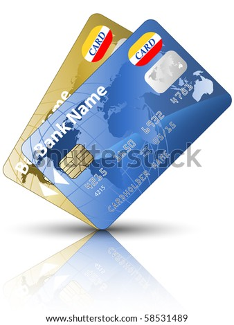 Icon of a two credit cards - stock photo