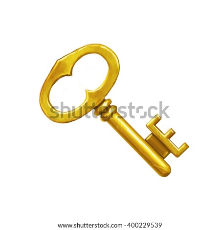 Icon of a vintage golden key on white isolated background. - stock photo