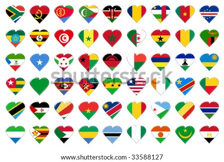 Icon of Africa flags. Illustration over white background