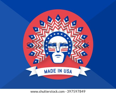 Icon of American man with Indian chief feathers on the head and inscription Made in USA. Set of symbols and design elements for Independence Day in United States of America. Illustration - stock photo