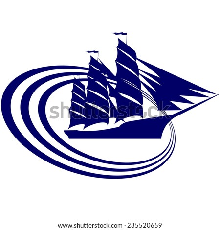 Icon of an old sailing ship. Illustration on white background.