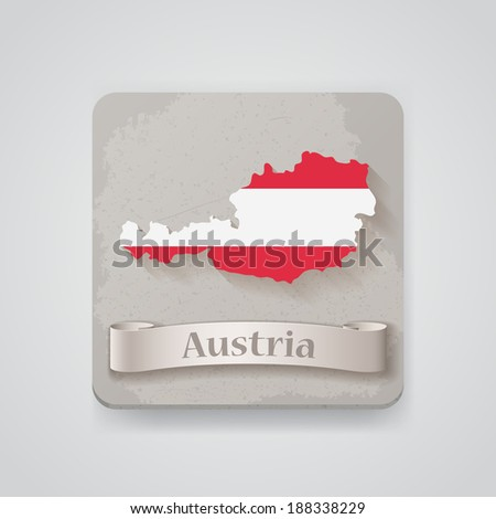 Icon of Austria map with flag. Raster version - stock photo