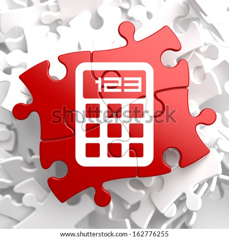 Icon of Calculator on Red Puzzle. - stock photo