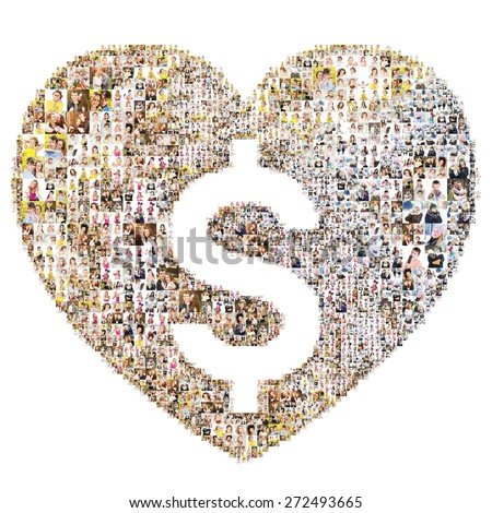 Icon of dollar in hearth. Isolated collage - stock photo
