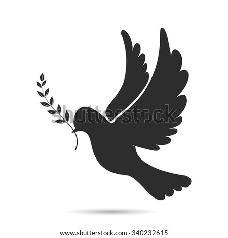 Icon of dove flying with olive twig in its beak. illustration  Raster version.  - stock photo