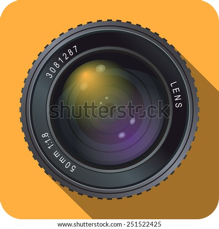 Icon of fifty millimeter camera lens on orange background.