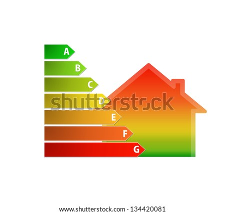 icon of gradient house and energy efficiency rating
