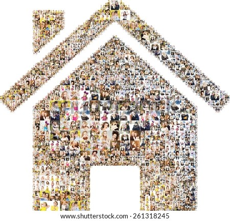 icon of house. collage with photos.  - stock photo