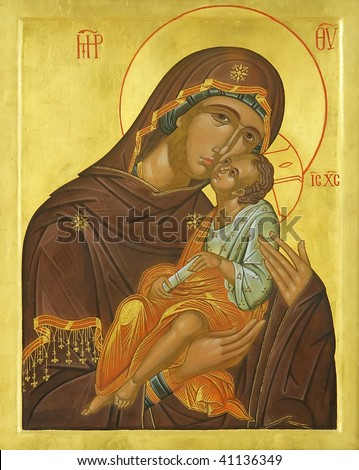 Icon of Madonna Mother of God (Mary) and child (Jesus Christ) on mahogany and gold - stock photo