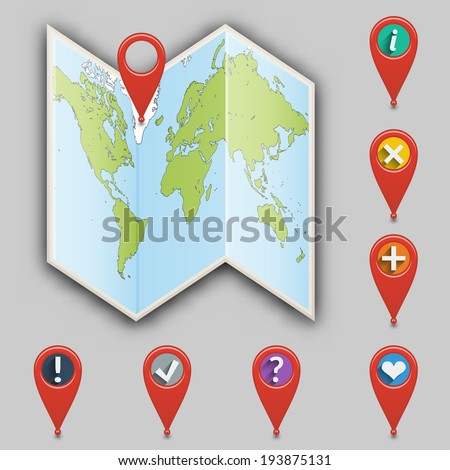 Icon of map and set  of different pointers.  - stock photo