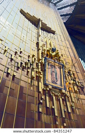 Icon of Our Lady of Guadalupe,  Mexico city - stock photo