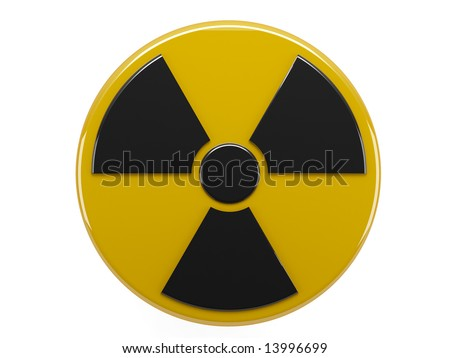 icon of sign radiation on white background