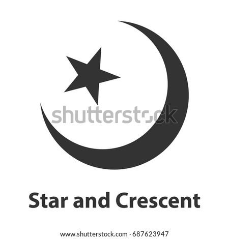 Icon Star Crescent Symbol Islam Religion Stock Illustration