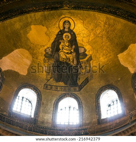 Icon of Virgin Mary in Interior of the Hagia Sophia in Istanbul, Turkey - greatest monument of Byzantine Culture. - stock photo