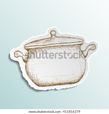 Icon pan is drawn on paper. Doodle image. Stock illustration. - stock photo