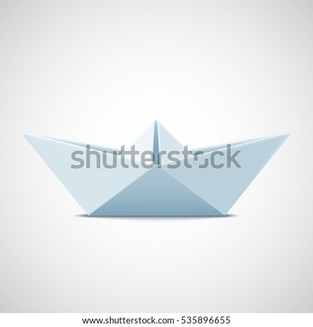 Icon paper boat on a white background. Stock  illustration.