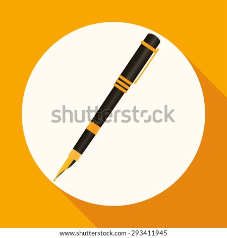 Icon pen on white circle with a long shadow - stock photo