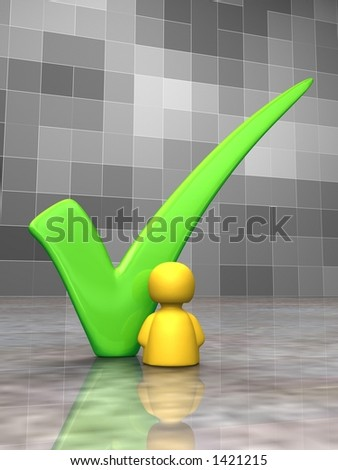 Icon person next to a big green tick - 3D - stock photo