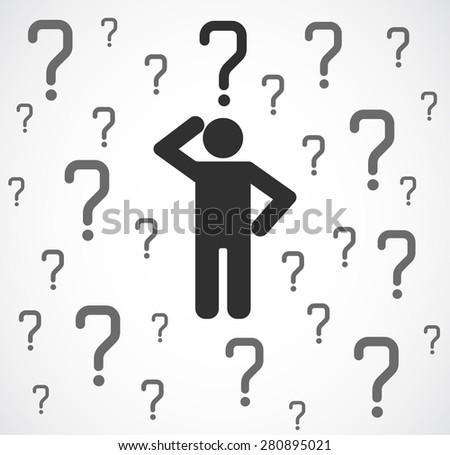 icon person with question mark concept background - stock photo