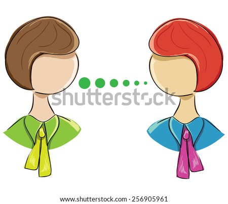 icon-portrait of two women communicating on a white background - stock photo