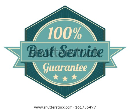 Icon Quality Assurance and Quality Management Concept Present By Blue Vintage Style Hexagon Icon or Shield With 100 Percent Best Service Guarantee Isolated on White Background  - stock photo