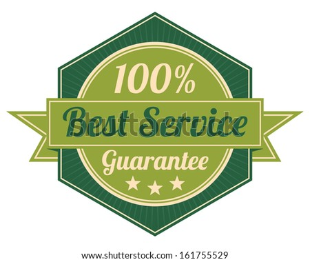 Icon Quality Assurance and Quality Management Concept Present By Green Vintage Style Hexagon Icon or Shield With 100 Percent Best Service Guarantee Isolated on White Background  - stock photo