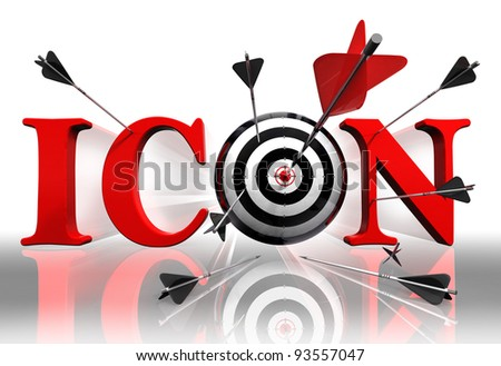 icon red word and conceptual target with arrow on white background - stock photo