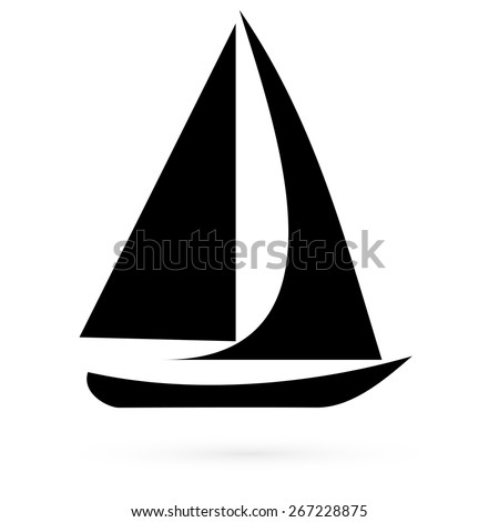 Icon sailboat. Raster  - stock photo