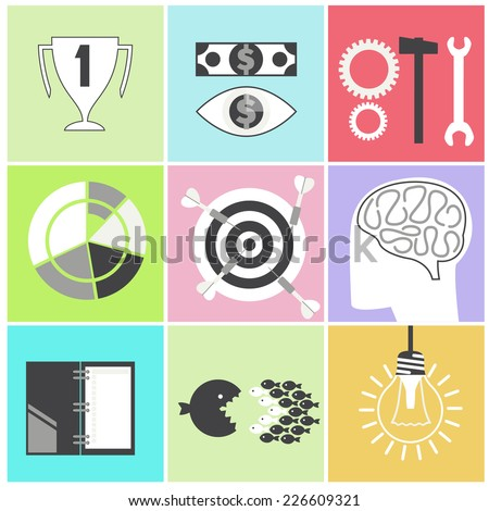 Icon set brain glowing light bulb darts target fish eye gear hammer wrench. Business idea concept cartoon flat design style. Raster version - stock photo