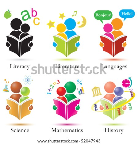 Icon set depicting an adult and child studying various subjects together - stock photo