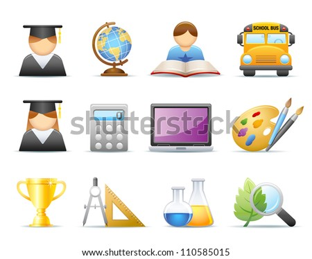 Icon set - Education / School - stock photo