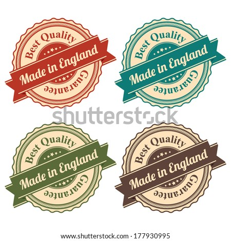Icon Set for Quality Assurance and Quality Management Concept Present By Circle Colorful Vintage Style Icon With Made in England Best Quality Guarantee Isolated on White Background  - stock photo