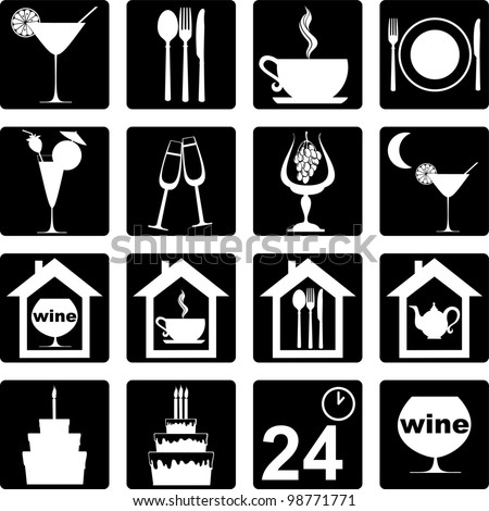 icon set for restaurant, cafe and bar.  Illustration - stock photo